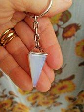 Portachiavi ciondolo piramide autentica pietra di luna naturale chakra cristalloterapia
