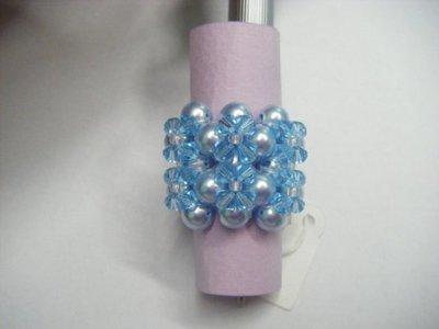 Anello azzurro perle e Swarovski