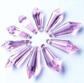 Perla pendente goccia a punta lilla  36x12mm