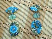 SET CABOCHON 6 pz in pasta polimerica, 40mm, ideale per soutache, macramè #giardino fiorito blu