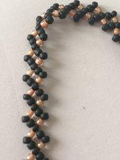Bracciale rombo nero/arancione