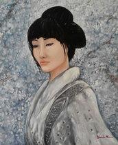 Quadro su tela dipinto a mano - geisha