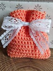 Sacchettino confetti cotone uncinetto color salmone, pesca,bomboniere, bomboniera, battesimo, comunione, cresima, matrimonio