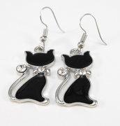 Orecchini pendenti gatto nero gattino smaltato