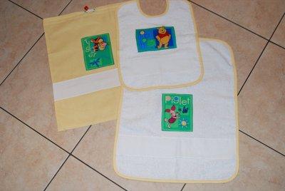 Set 3 pz Nido Materna - Winnie Pooh giallo - da ricamare