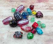 Lotto 20 perle vetro miste varie forme, colori