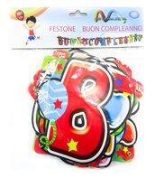 2pz festone buon compleanno 180cm paper festoon feste compeanno tanti auguri pacco doppio