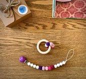 CIRCLE Melanzana – Set catenella portasucchietto e anello massaggiagengive con perle crochet