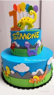 Torta scenografica Dinosauri ❤️Primo compleanno Simone