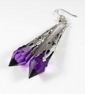 Orecchini pendenti goccia viola filigrana argentata