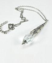 Collana pendente goccia a punta vetro trasparente
