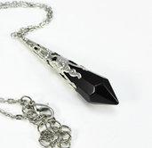Collana pendente goccia a punta vetro nero