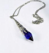 Collana pendente goccia a punta vetro blu