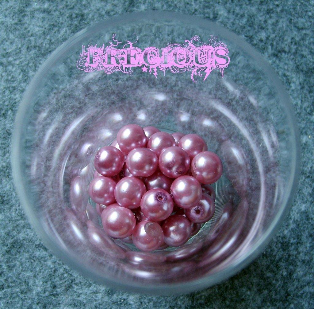 30 perline cerate rosa