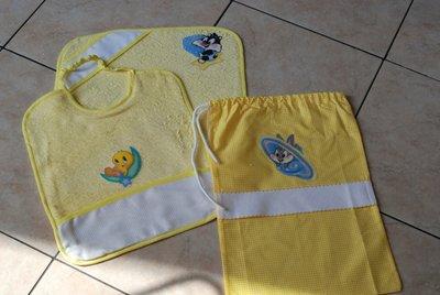 Set 3 pz Nido Materna - Looney Tunes giallo - da ricamare