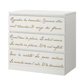 Scritte adesive poesia francese per cassettiera Malm 3 cassetti