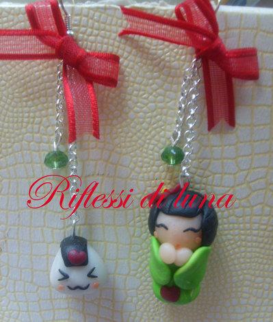 Orecchini Giapponesina verde + Onigiri