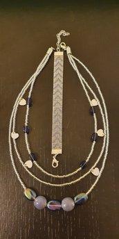 Collana 3 fili con perline, perle e cuori + Bracciale con perline a telaio