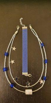 Collana 2 fili perline e perle con charms + Bracciale con perline a telaio