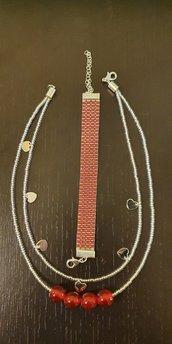 Collana a 2 fili con perline, perle e charms cuore + Bracciale con perline a telaio