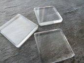 2 Cabochon quadrati vetro trasparente 25mm