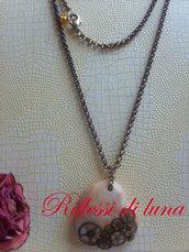 Collana bronzo con cuore stile steampunk