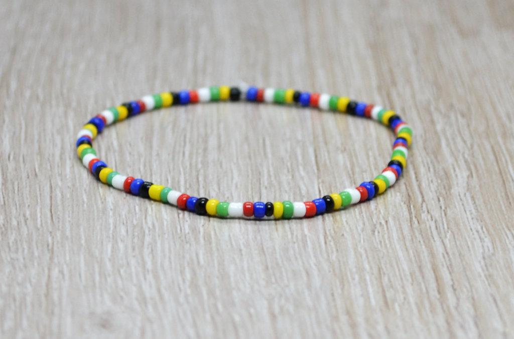 bracciale elastico perline nazione, bracciale sudafrica
