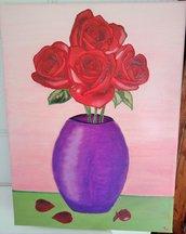 Quadro Vaso rose rosse
