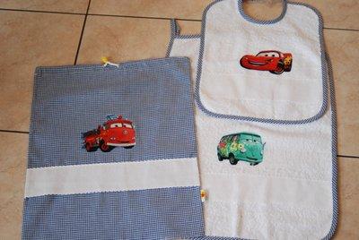 Set 3 pz Nido Materna - Cars blu - da ricamare