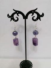 Orecchini ametista cilindro sfaccettato e cristallo viola
