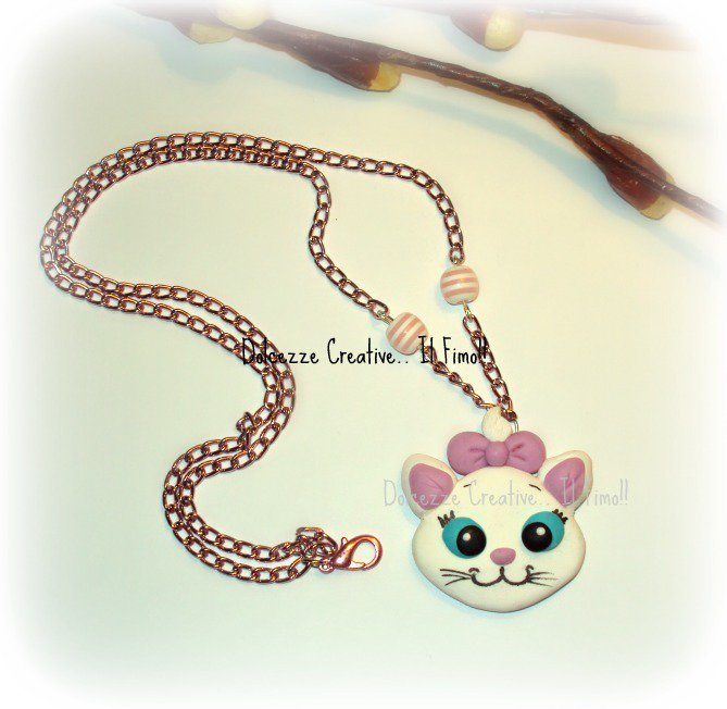 ★★SALDI Collana Minù Gatto- in fimo e cernit - kawaii cartoon