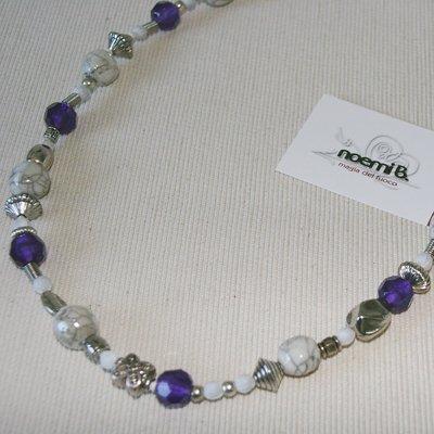 Collana raku bianco-viola