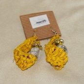 Orecchini raku giallo-bianco
