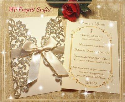 Invito/menu A SPECCHIO  rosa INCANTATA Bella E LA Bestia