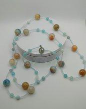 COLLANA LUNGA in agata dendritica azzurro e beige, maxi collana, colori pastello, pezzo unico