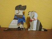 Coppia di Cani in Legno