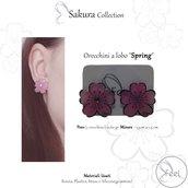 """Orecchino a Lobo  """"Spring""""  fiore di ciliegio Primavera"""