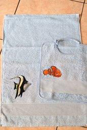 Set 2 pz Nido Materna - Nemo azzurro - da ricamare