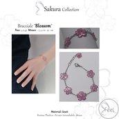 """Bracciale """"Blossom"""" con fiori di ciliegio  Primavera"""