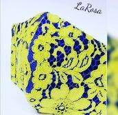 Mascherina lavabile in pizzo giallo
