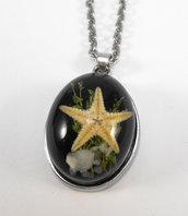 Collana pendente resina con stella marina catenina acciaio