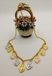 GIROCOLLO A CATENINA con cuori votivi nei 3 colori dell'oro