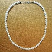 Collana girocollo in perle di acqua dolce e acciaio