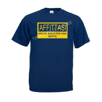 """T-shirt blu navy personalizzata """"AFFITTASI ANCHE SOLO PER UNA NOTTE""""."""