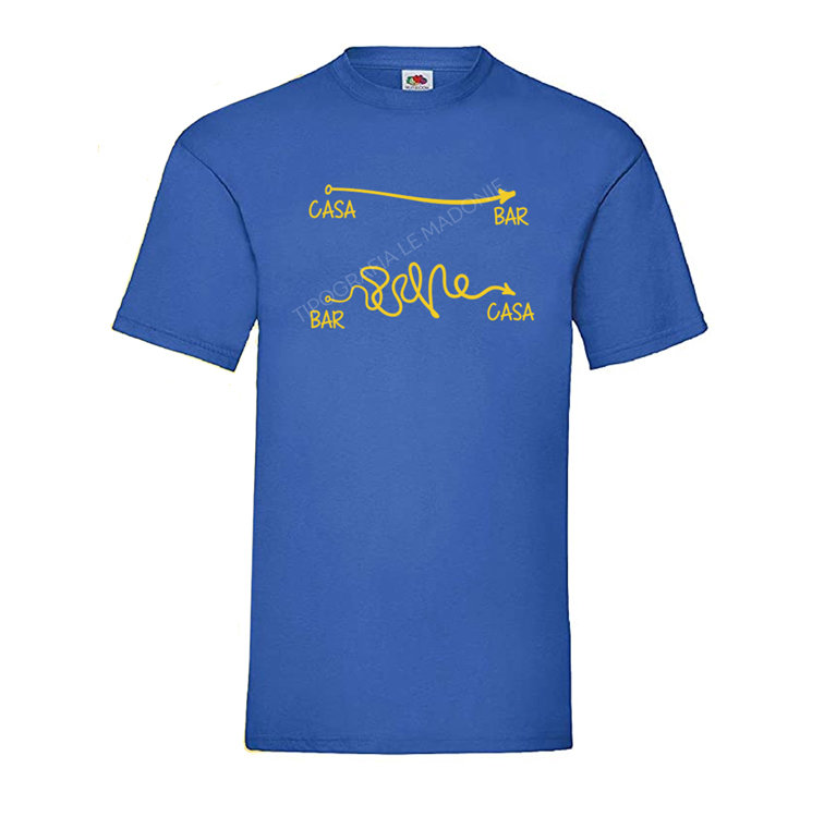 """T-shirt uomo scherzosa """"CASA-BAR / BAR-CASA""""."""