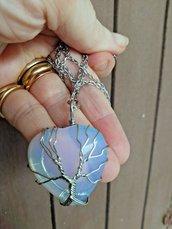 Collana donna con ciondolo cuore in autentica pietra di luna e albero della vita wire chakra cristalloterapia