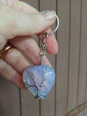 Portachiavi con ciondolo cuore in autentica pietra di luna naturale e albero della vita wire chakra cristalloterapia
