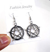 Orecchini pendenti pentacolo stella pentagramma tono argento