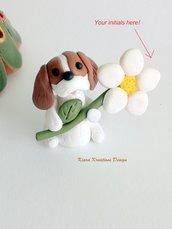 Regalo festa della mamma Decorazione con cane cavalier king personalizzato con la vostra iniziale sul petalo, regalo per amanti dei cavalier