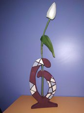 Porta Fiore in Legno con Vasetto